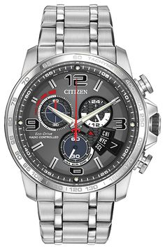 Eco-Drive Chrono-Time - its movement, Caliber H610, not only includes the Eco-Drive technology but also features Citizen's atomic clock synchronization for greater accuracy