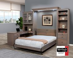 Hoot Judkins Furniture offers quality wood Bedroom furniture in the Bay Area, Redwood City California. Custom Built Oxford Queen Library Wall Bed With Side Cabinets and Desk in Weathered Grey Finish Murphy Bed Office, Best Murphy Bed, Murphy Bed Desk, Murphy Bed Plans, Office Bed, Murphy-bett Ikea, Bedroom Furniture, Bedroom Decor, Furniture Ideas