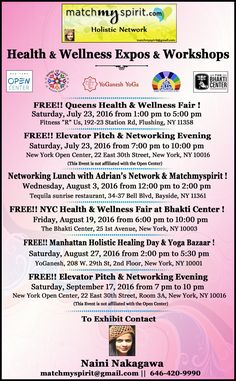 NYC Health & Wellness & Business Events . Come by connect with our wonderful community !