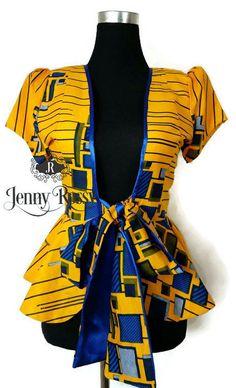 Jennyrossy veste africain Ankara cravate blazer im. Latest African Fashion Dresses, African Print Dresses, African Print Fashion, Africa Fashion, African Dress, African Blouses, African Tops, African Women, Kitenge