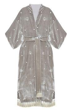 Бархатный халат «Перья» Esve - Роскошный халат из бархата красивого серого цвета в интернет-магазине модной дизайнерской и брендовой одежды