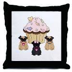 Pug Dogs and Cupcake Pillows