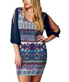Blue Geometric Cutout Dress - Plus #zulily #zulilyfinds