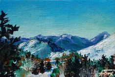Acrylic on canvas board, framed4 x 6 inch image size Experience the Teton view from Snow King Lodge.The original painting is matted and framed in a washed gray frame, included in your purchase. For reproductions of this painting on paper, canvas, wood, metal or even household goods like pillows, tote bags and phone cases,clickhere.