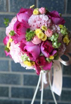 花どうらく/ウェディングブーケ/hanadouraku/http://www.hanadouraku.com/bouquet/wedding/ピンク/pink/バラ/イヴピアッチェ/POP