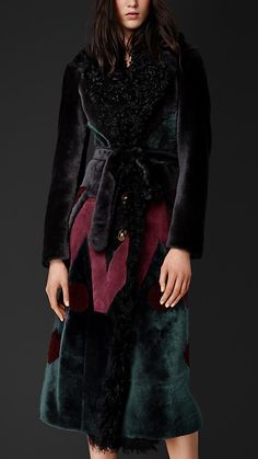 Burberry Prorsum Geometric Patchwork Shearling Coat