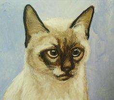 Siamese cat portrait, Acrylic colors and pencils on paper by Hina Pet Portraits DM sassosaby@gmail.com