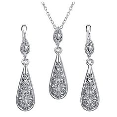 Vintage Jewelry Yoursfs Teardrop Jewelry Sets 18K White Gold Plated Classy Jewelry for Women Gift Silvery Delicate Pendant  Leverback Earrings Sets * Want to know more, click on the image. Note: It's an affiliate link to Amazon.