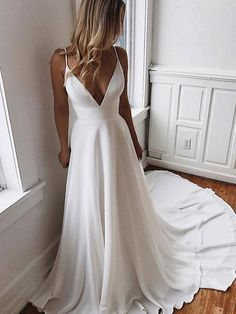 Backless wedding dress - Simple V Neck White Chiffon Prom Dress, White Lace Long Evening Dress – Backless wedding dress Lace Evening Dresses, White Wedding Dresses, Plain Wedding Dress, Evening Gowns, Modest Wedding, Backless Dresses, Dresses Dresses, Wedding White, Simple Elegant Wedding Dress