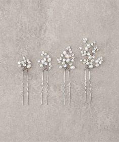 Bijou de cheveux en argent vieilli et perles T15-6029 (4) | Pronovias