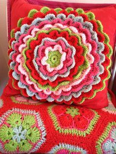 Ripple cushion a la attic24 blog with African daisy motif rug