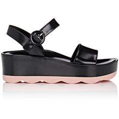 Prada Women's Wavy-Sole Leather Platform-Wedge Sandals (2,755 AED) ❤ liked on Polyvore featuring shoes, sandals, open toe wedge sandals, ankle strap platform sandals, wedge heel sandals, platform sandals and wedge sandals