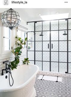 Bathroom: white subway tile with dark grout, skylight over walk-in shower, stand alone tub