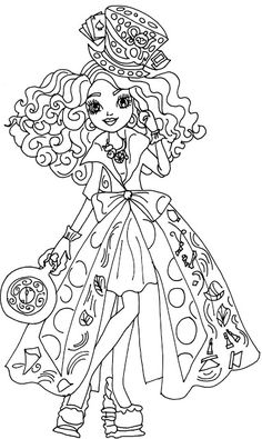Free Printable Ever After High Coloring Pages: Madeline Hatter Way Too Wonderland Ever After High Coloring Page