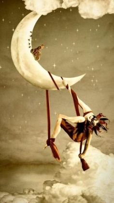"""Circo de la Luna"" by Manuela Unterbuchner. Because Moon in Leo is simultaneously daring and dramatic. photo poses for rsa Moon Images, Moon Photos, Moon Pictures, Sun Moon Stars, Sun And Stars, Illustrations, Illustration Art, Ste Croix, Art Du Cirque"