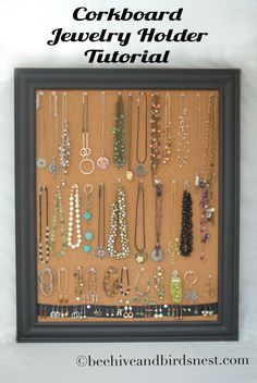Cork board jewelry holder. Another cute idea for the girls Christmas gifts