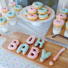 @californiadonuts) Oh Baby!  Custom letter and mini donuts for a Gender Reveal Party