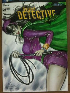 Classic Catwoman blank. Copics, watercolour paints and white gel pen.