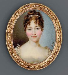 NICOLAS FRANÇOIS DUN , Athénaïs d'Arlincourt, comtesse de Sassenay (d. full face in white dress with lace-bordered sleeves, drop pearl earrings, pearls in her upswept and curled light brown hair Miniature Paintings, Miniature Portraits, 1800s Fashion, Light Brown Hair, Portrait Paintings, Ottoman Empire, Antique Photos, Pearl Drop Earrings, Collage Sheet