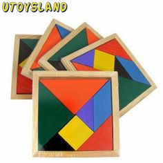 UTOYSLAND Wooden Tangram 7 Piece Jigsaw Puzzle Colorful Square IQ Game Brain Teaser Intelligent Educational Toys for Kids