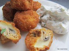 Krokante gefrituurde champignons (met frisse yoghurtdip)