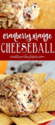 Cranberry Orange Cheese Ball is sweet and tangy and has a yummy fresh flavor. It is simple and tasty - a perfect holiday appetizer! #cheeseball #appetizer via @creationsbykara.com