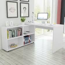 Image result for vidaXL sarok íróasztal 4 polccal fehér