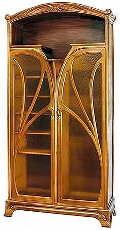 Art Nouveau Two Door Bookcase--Art Nouveau (New Art) began in the and flourished until about the time of WWI. It is much curvier and flowery than Art Deco. Móveis Art Nouveau, Art Nouveau Interior, Design Art Nouveau, Art Nouveau Furniture, Antique Furniture, Luxury Furniture, Belle Epoque, Salon Art Deco, Architecture Art Nouveau