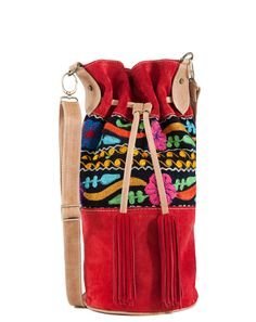 Hippie Chic Hobo Bag Genuine Red Suede