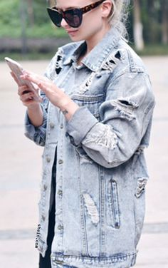 Ripped Boyfriend Denim Jacket. By shein.