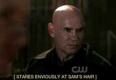 """""""Stares enviously at Sam's hair"""" - subtitles found ONLY on Supernatural haha"""