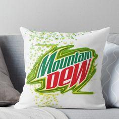 'Mountain Dew' Throw Pillow by Sophie Bergersma Throw Pillows Bed, Bed Throws, Floor Pillows, Decorative Throw Pillows, Custard Cream Cupcakes, Mountain Dew, Dress Shirts For Women, Chiffon Tops, Classic T Shirts
