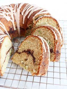 Cinnamon zucchini bundt cake combines cinnamon swirl cake with zucchini bread to create a deliciously sweet late-summer dessert. | www.ifyougiveablondeakitchen.com