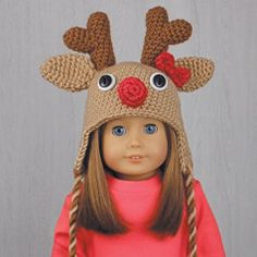 "REINDEER HAT for AMERICAN GIRL DOLLS ❤ Crochet pattern in the book ""Amigurumi Holiday Hats for 18-Inch Dolls"" by Linda Wright. Book available at Amazon.com. This is an easy-level crochet pattern and one of the six Christmas Hat patterns that are included in this book. The Santa Hat will fit American Girl and any 18-Inch dolls with a similar 12-inch head circumference."