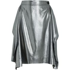 Vivienne Westwood Anglomania Heathcote metallic twill skirt ($385) ❤ liked on Polyvore featuring skirts, silver, twill skirt, metallic skirt, vivienne westwood anglomania, draped skirt and button skirt