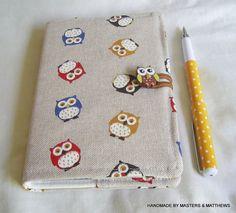 A6 Notebook A6 Lined Journal Owl Fabric by Mastersandmatthews