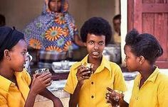 Primary Five girls enjoy their breakfast break in the school canteen. Tea with Samusa was my favourite meal deal. This pic was taken in 1987.