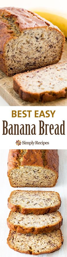 Made this with 1/2 cup brown sugar, 3 bananas and choc chips. Delicious and could use less sugar.  Delicious and easy, classic banana bread recipe. Most popular recipe on SimplyRecipes.com