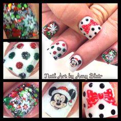 Choose from an Amazing Array of Nail Art Design Disney Christmas Nails, Xmas Nails, Holiday Nails, Holiday Nail Designs, Winter Nail Designs, Cool Nail Designs, Cute Nails, Pretty Nails, Mickey Nails