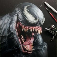 """Wip """"Venom"""" Freehand airbrush, inks, pencils. @whilesheburystomorrow got me inspired to do my take on the big drooling monster.  #art #marvel #comics #avengers #arte #artist #artwork #paint #painting #draw #drawing #sketch #pencil #portrait #instaart #creepy #artoftheday #ink #artsy #masterpiece #gallery #nawden"""