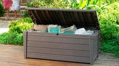 Keter Brightwood Outdoor Garden Storage Bench Box - 7290005828034 For Sale, Buy from Outdoor Storage Boxes collection at MyDeal for best discounts. Plastic Garden Storage Box, Garden Storage Bench, Deck Storage, Storage Spaces, Outdoor Storage, Storage Ideas, Storage Benches, Storage Units, Box Storage