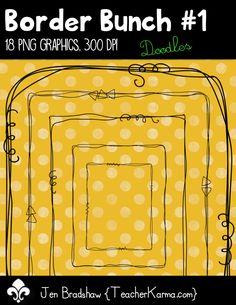 Border Bunch #1 ~ 18 png graphics ~ Doodled borders and frames.  TeacherKarma.com #borders #frames