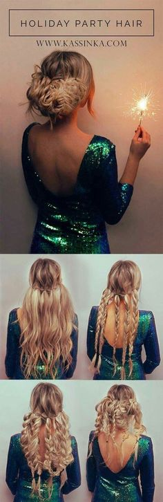Imagen de blondie, trenzas, and holidays party hair