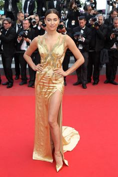 Irina Shayk in Versace. See all the best looks from the 2015 Cannes Film Festival.