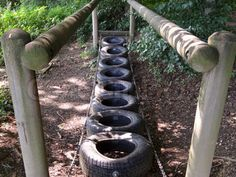 This is an awesome idea for children to learn a sense of balance. It is a creative way for a making a pathway as well.