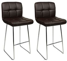 Pair Algori Chrome and Padded Kitchen Breakfast Bar Stools Fixed Height Various Colours Curved Frame