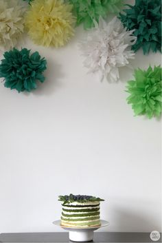 Rainbow / Birthday cake / green rainbow cake mint, lime, double cream and blueberry green tissue paper pom poms