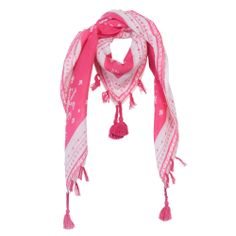 Pink Scarf designed by Jean Bourget. Features a pink and white pattern with pink tassels.