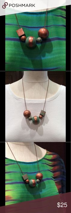 Hand painted necklace 21 inches long. Hand painted copper and sage green.  Beautiful colors for the fall or for whatever time you choose to wear it.  Copper metal chain. Copper lobster clasp. handmade Jewelry Necklaces