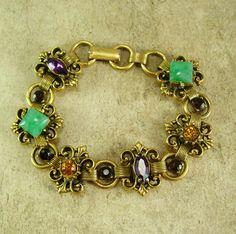 Antique Bookchain Victorian bracelet Edwardian rhinestone renaissance Vintage costume jewelry